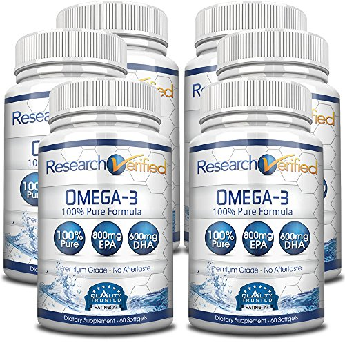 Research Verified Omega 3 - Omega 3 Fish Oil - 100% Pure Premium Omega Fatty Acids - High EPA 800mg + DHA 600MG; no Aftertaste - 1500mg Softgel Capsules, 6 Bottles (6 Months Supply) by Research Verified