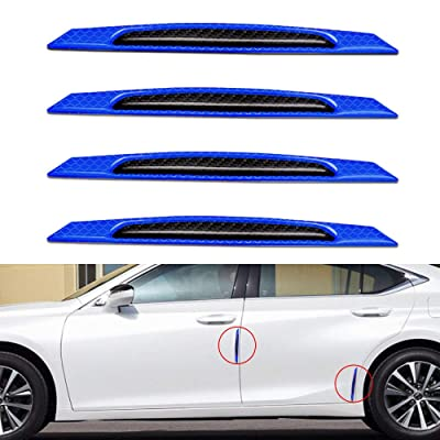 Yuxin Reflective Tape Door Edge Guards Carbon Fiber Pattern Self-Adhesive Warning Safety Reflector Strips Sticker Car Door Protection Strip Universal Auto Replacement Door Protector-4pcs Blue: Automotive