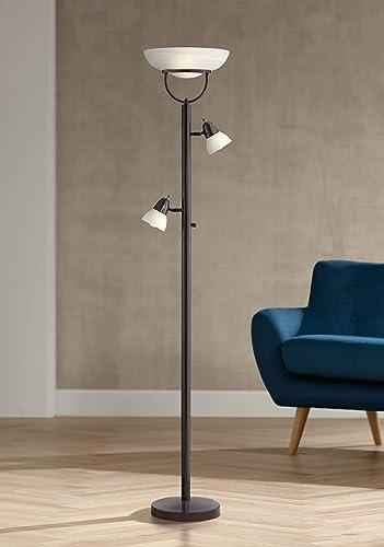 Modern Torchiere Floor Lamp 3-in-1 Design Tiger Bronze White Glass Shade