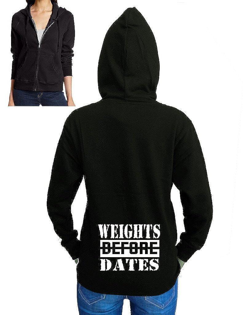 Interstate Apparel Juniors Weights Before Dates V406 Black Fleece Zipper Hoodie