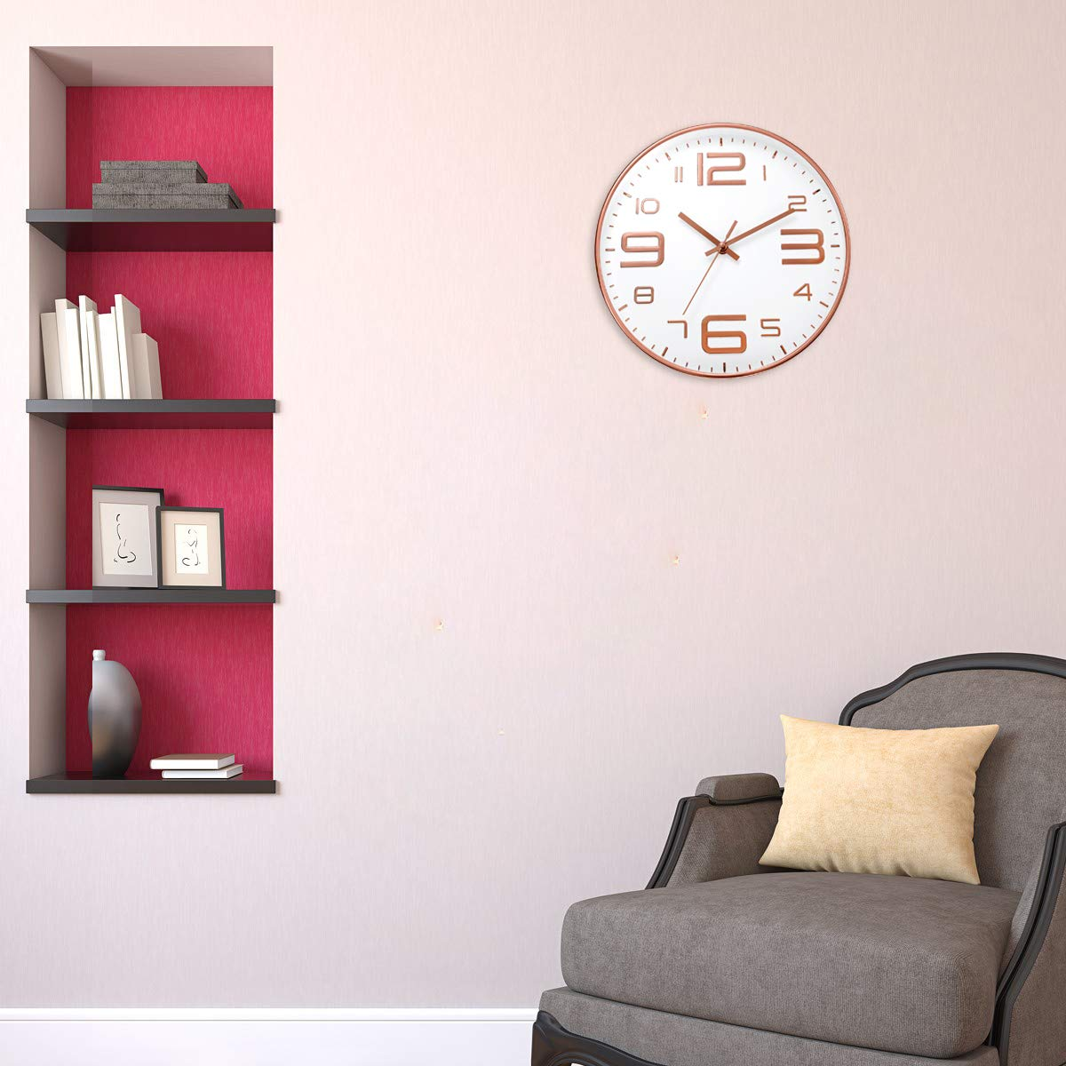 ufengke Reloj de Pared Numeros 3D Industrial Oro Rosa Reloj Quartz Silencioso Ultramodernos Pare Salon Comedor, Diámetro 30cm