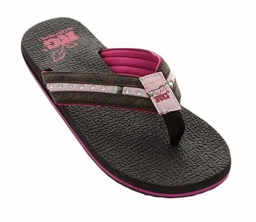 59a2c276470b6b Realtree Women s Brown Camo Canvas Rubber Thong Sandal 9