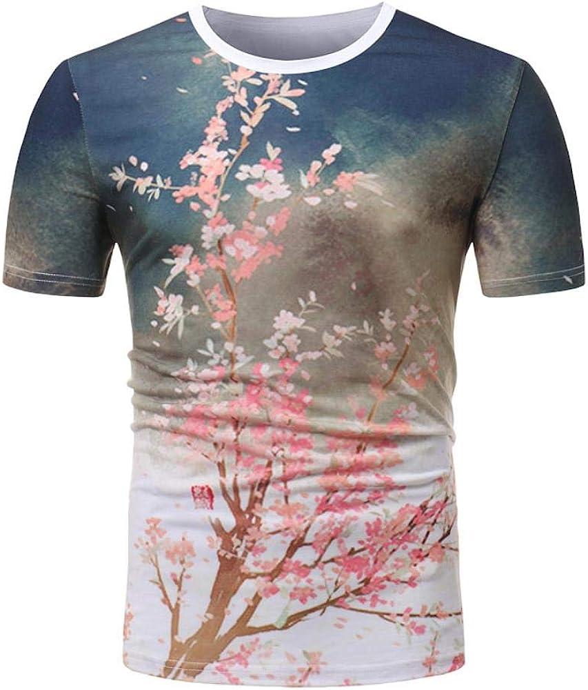 Camiseta de la Juventud de la Calle de impresión de Manga Corta Cuello Redondo de Manga Corta Ocasional del Verano de la Camiseta de la Camisa de algodón de la Cereza