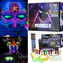 NeonGlo - 220 pcs party kit with Glowing Stick Bracelets, 3D and glow ball Connectors, UV Neon Face Paint, Nail Varnish, Tattoo stickers, Glasses, Shoe Laces, Bunny Ears / Hair Clip Barrettes with free ideas booklet - Mixed colours