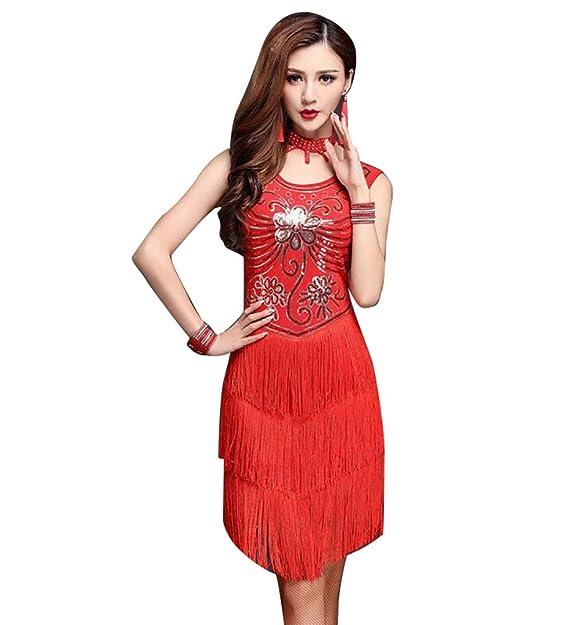 NiSeng Mujer lentejuela funcionamiento de la danza latina ropa vestidos baile latino salsa: Amazon.es: Ropa y accesorios