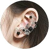 Aifeer Flower Beads Elven Ear Cuffs Silver Filigree Fairy Elf Ear Cuffs Fantasy Cosplay Costume Handcraft Earrings for Non-Pierced Ears (Black)