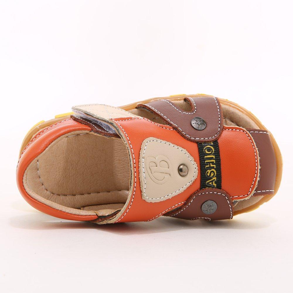 HOBIBEAR Boy's Girl' Brown/Orange Closed-Toe Leather Sport Sandal(Toddler/Little Kid) by HOBIBEAR (Image #3)