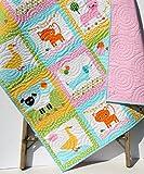 Animal Baby Quilt, Patchwork, Baby Girl Blanket, Dachshund Dog Cat Panda Sheep Fox, Light Pink Aqua Ann Kelle Zoologie, Toddler Bed Blanket