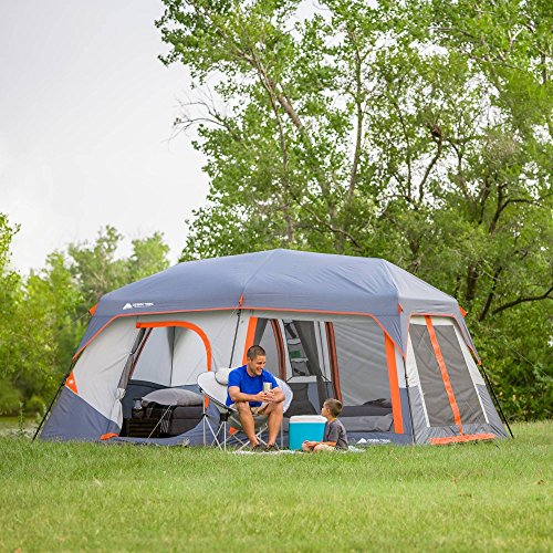 Family Camping Tents. Ozark Trail Instant Cabin Tent with Built in Cabin Lights, Sleeps 10, 14' x 10' x 78