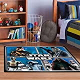 """Star Wars Rug HD ep 7 Chewbacca, R2D2, Captain Phasma, Kylo Ren Bedding Wall Decals Blue Area Rugs , 40""""x56"""""""
