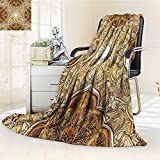 AmaPark Digital Printing Blanket Style Leaf Classic Islamic ating Elements Folk Art Brown Cream Summer Quilt Comforter