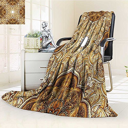 AmaPark Digital Printing Blanket Style Leaf Classic Islamic ating Elements Folk Art Brown Cream Summer Quilt Comforter by AmaPark