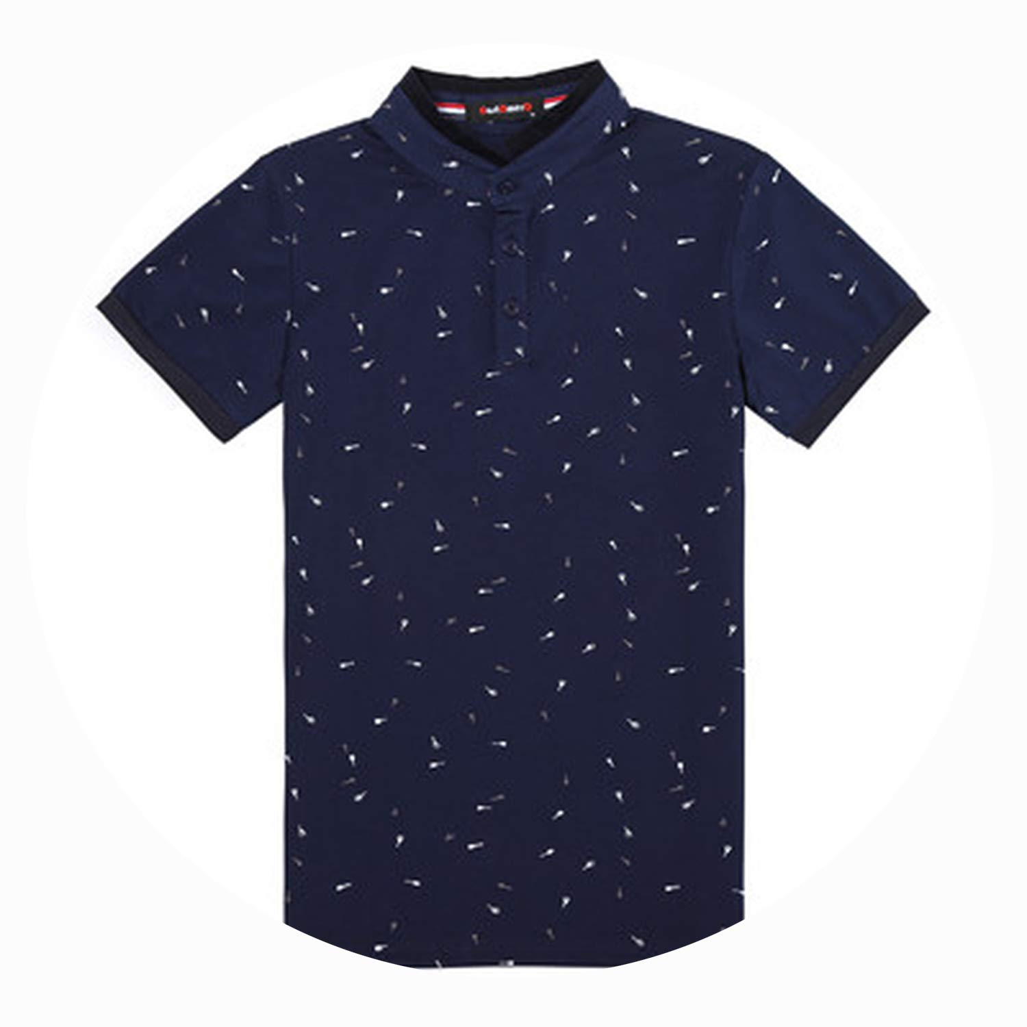 Shocked Tomato-shirt Summer Guitar Printed Stand Collar Men Short Sleeve Slim Fit Polo Homme Cotton,Navy,L