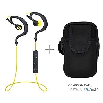 Syllable® D700 Auriculares Bluetooth Cascos Manos Libres Inalámbrico In-Ear Audífonos con Micrófono y brazalete deportivo 6.5Inch (para 4.7inch movil): ...
