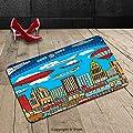 Custom Machine-washable Door Mat Cartoon Busy City Metropolis with Hot Air Balloon Zeppelin Plane Ufo Urban Town Graphic Multicolor Indoor/Outdoor Doormat Mat Rug Carpet
