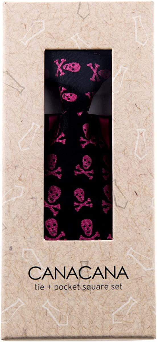 Canacana Cool Funky Skulls Pre-tied Boys Tie with Stripes Pocket Square Set