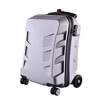 80ca24e065dc 21 inch TSA Lock Scooter Luggage Aluminum Suitcase With Wheels Skateboard  Rolling Luggage Travel Trolley Case