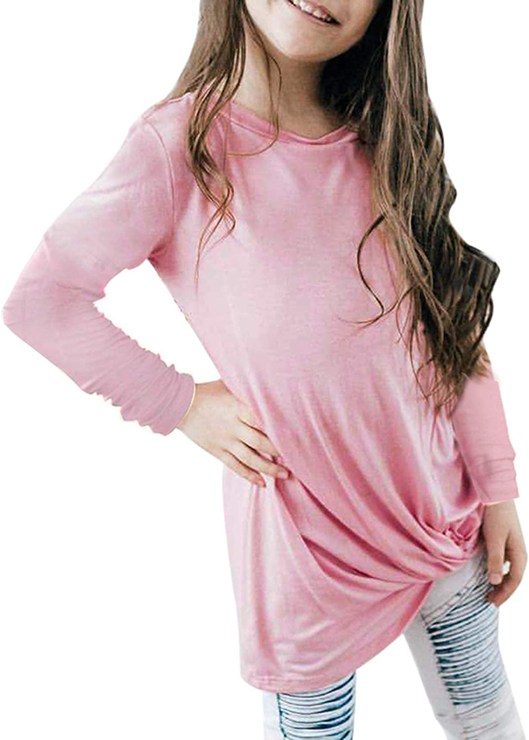 storeofbaby Girls Casual Long Sleeve Tunic Tops Winter Floral Knot Shirts for 4-13 Years