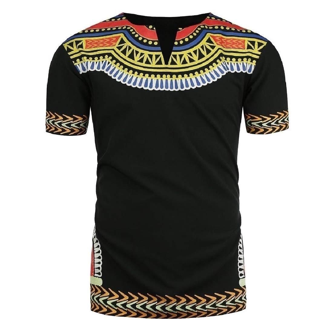 Doufine Men's Short Sleeve Plus Size African Floral V Neck Tops T-shirts Black 2XL by Doufine--men clothes (Image #1)