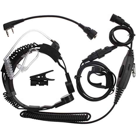 2fe0d348cafbe Amazon.com: KENMAX Military Tactical Throat Mic VOX Earpiece Headset ...