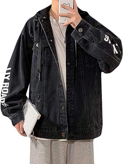 DeBangNiジージャン メンズ 長袖 大きいサイズ デニムジャケット 黒 カジュアル フード付き Gジャン ブルゾン ゆったり プリント ビッグサイズ かっこいい アウター おしゃれ スポーツ