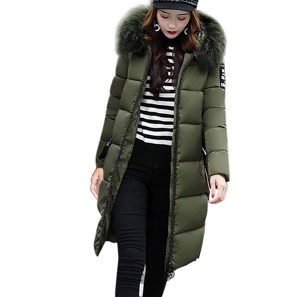 FengGa Women Solid Casual Thicker Winter Slim Down Jacket Coat Long Slim Overcoat Army Green by FengGa