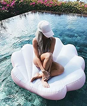 Amazon.com: Almeja, caracola inflable flotante color rosa ...