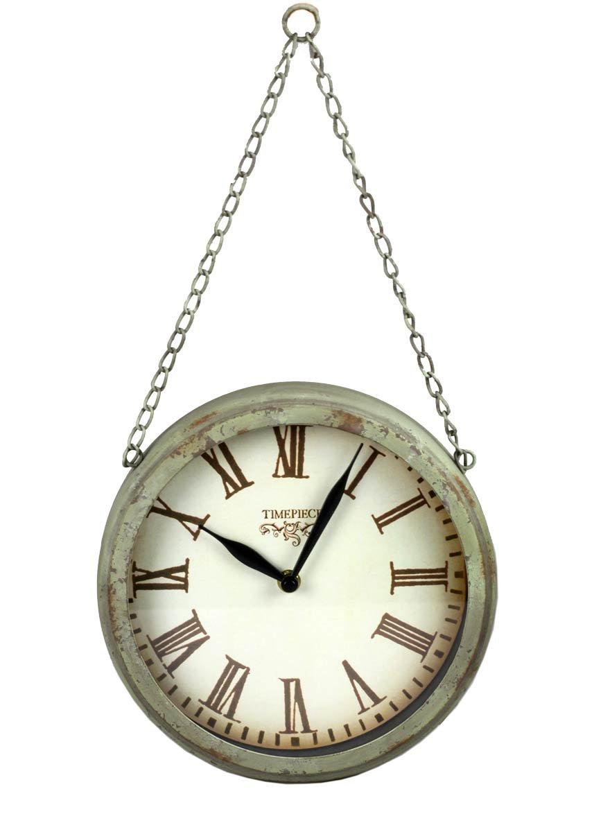 Reloj de pared de metal con cadena tipo farmacia diseño rústico Shabby reloj: Amazon.es: Hogar
