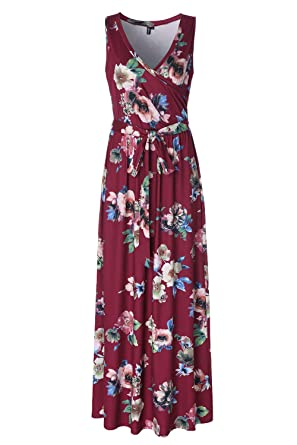 e91aabdfa6b Kranda Womens Summer Floral Print Long Dress V Neck Maxi Sleeveless Dress  Burgundy S