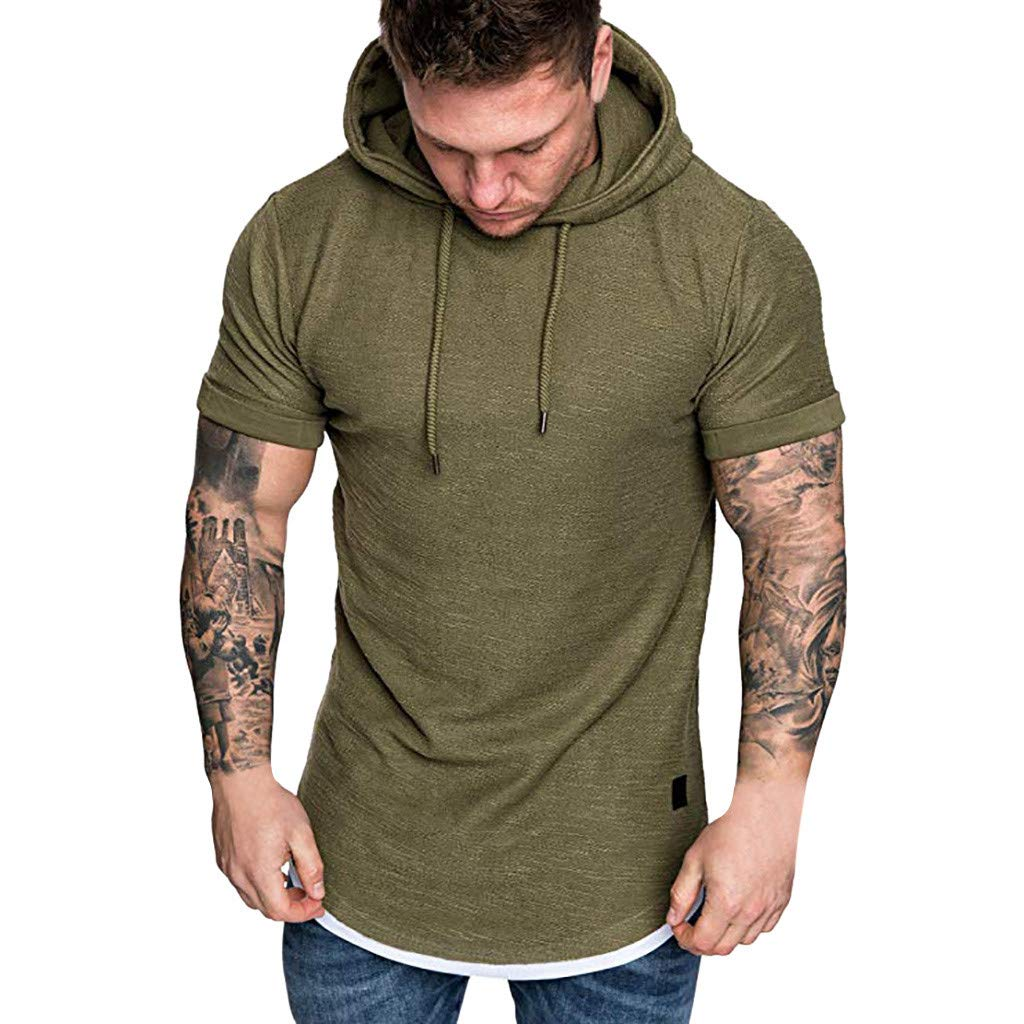 Forthery Mens Gym Hooded Jacket Raglan Solid Short Sleeve Tank Athletic Slim Fit Lightweight Workout Fitness Tops(Army Green,US Size 2XL = Tag 3XL)