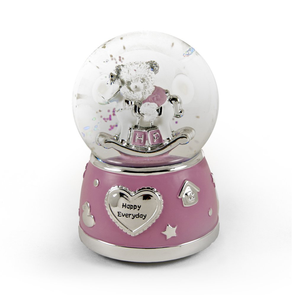 Adorable Pink And Silver Teddy Bear On Rocking Horse Animated Snow Dome - School Days