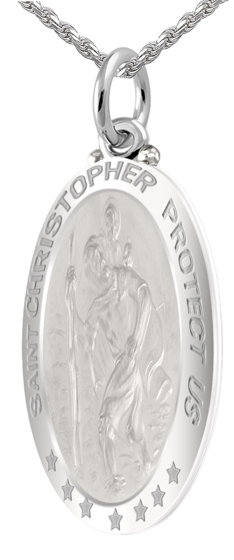 Men's 0.925 Sterling Silver St Christopher Oval High Polished 1.25'' Pendant 2.0mm Curb Necklace, 24''