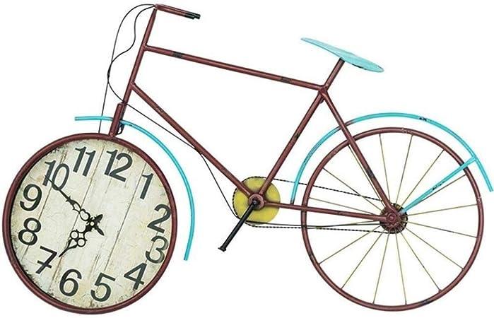 Reloj retro moderno Reloj de pared de estilo europeo Bicicleta creativa Arte en hierro Reloj vintage tridimensional silencioso Sala de estar Café Decoración de pared Reloj 丨 sin segunda mano Style Est: