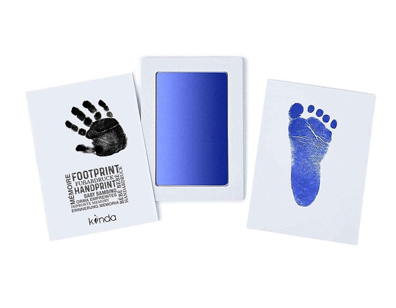 Schwarz Baby Fu/ß- oder Hand-AbdrucksetCleanTouch von Ecotrumpuk| Stempelkissen mit 2 hochwertigen Druckkarten Inkless Babyhaut kommt nicht mit Farbe in Ber/ührung