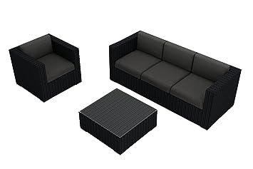 Harmonia Living Urbana 3 Piece Sofa Set, Canvas Charcoal