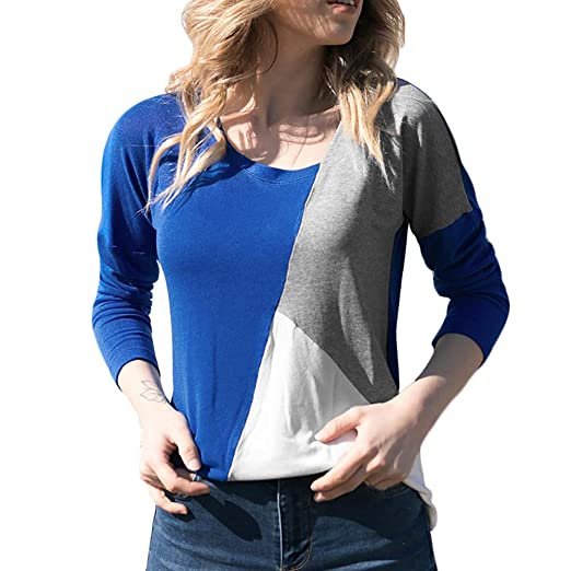 0945ca01eb Dimanul T Shirts for Women T-Shirts Funny Loose Top Patchwork Pullover Long  Sleeve Teen Girls Blouse at Amazon Women s Clothing store