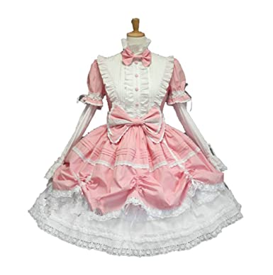 Pink French Maid Fancy Outfit+ Headband+sleeves Cosplay Costume  sc 1 st  Amazon.com & Amazon.com: Pink French Maid Fancy Outfit+ Headband+sleeves Cosplay ...