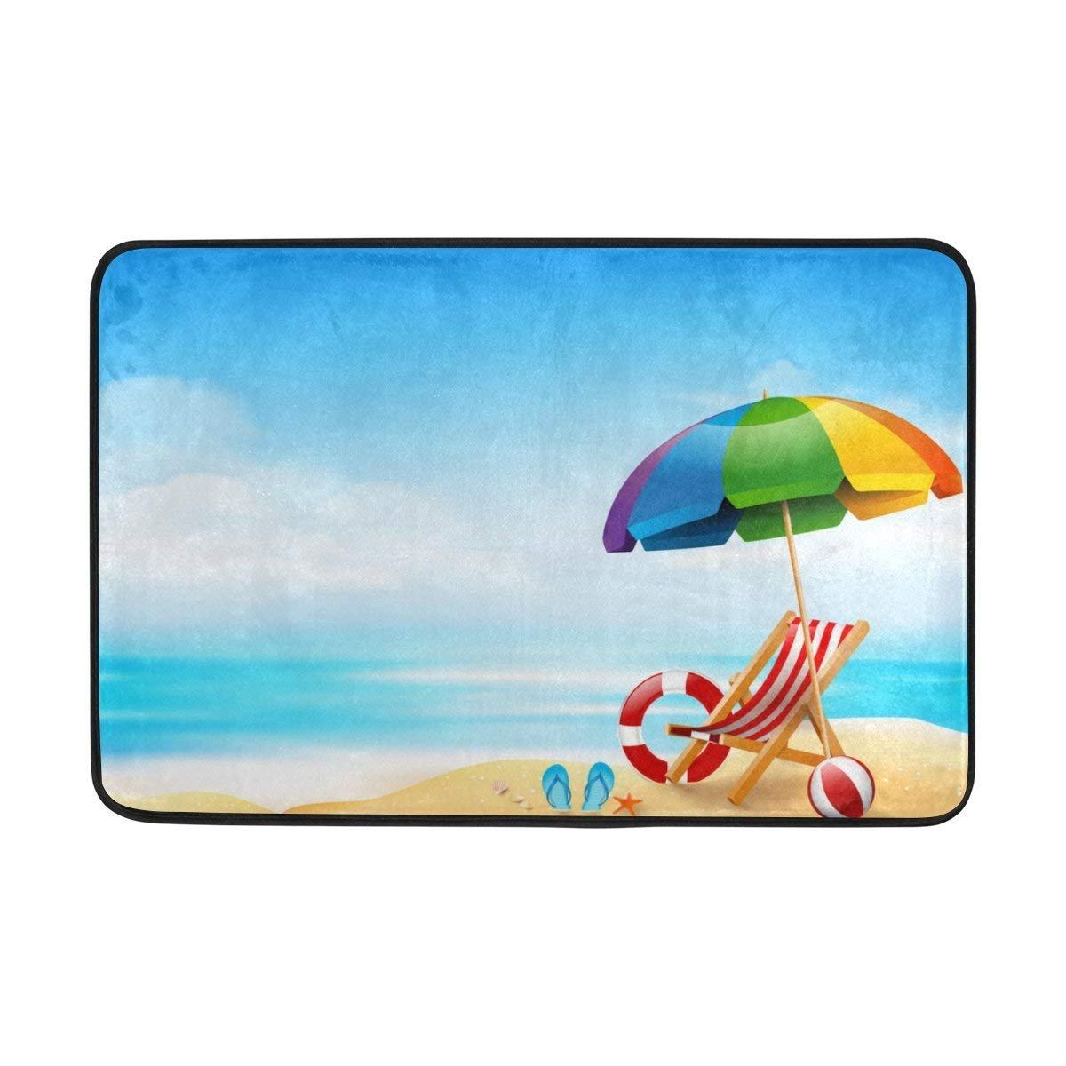 Felpudos Summer Ocean Sea Beach Tropical Palm Trees Doormats Floor Mats Shoe Scraper for Home Indoor Entrance Way Front Door 23.6 by 15.7 Inches 40 x 60 cm