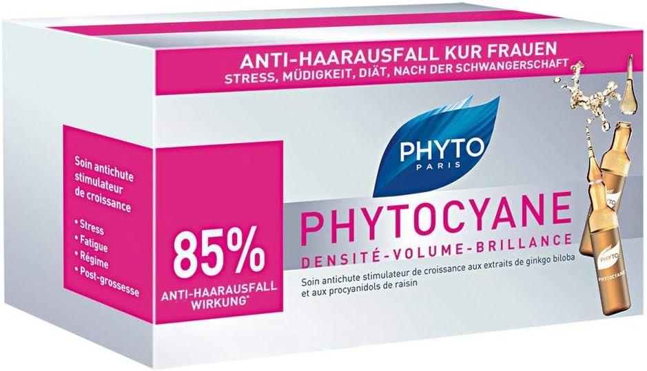 PHYTO PHYTOCYANE - Ampollas contra la caída del cabello, 12 x 7,5 ml