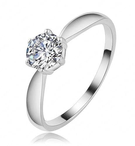 Simple Diamond Compromiso Promesa Anillo, anillos de boda para mujer, chapado en platino