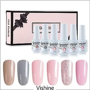 Vishine 6Pcs Soak Off LED UV Gel Nail Polish Varnish Nail Art Starter Kit Beauty Manicure Collection Set C002