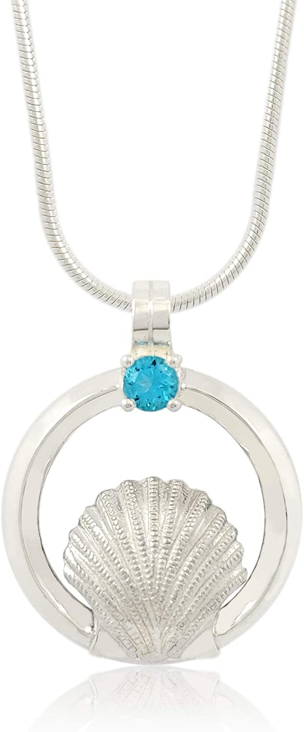 """Bahama Jewels - Sterling Silver Sea Shell Circle of Life Blue Topaz Necklace with Pendant and 18"""" Snake Chain with Lobster Clasp"""