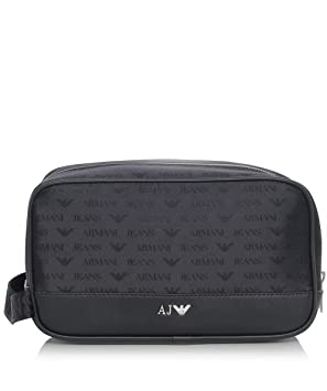 82ce7494d765 Armani Jeans Logo Wash Bag Black One Size  Amazon.co.uk  Luggage