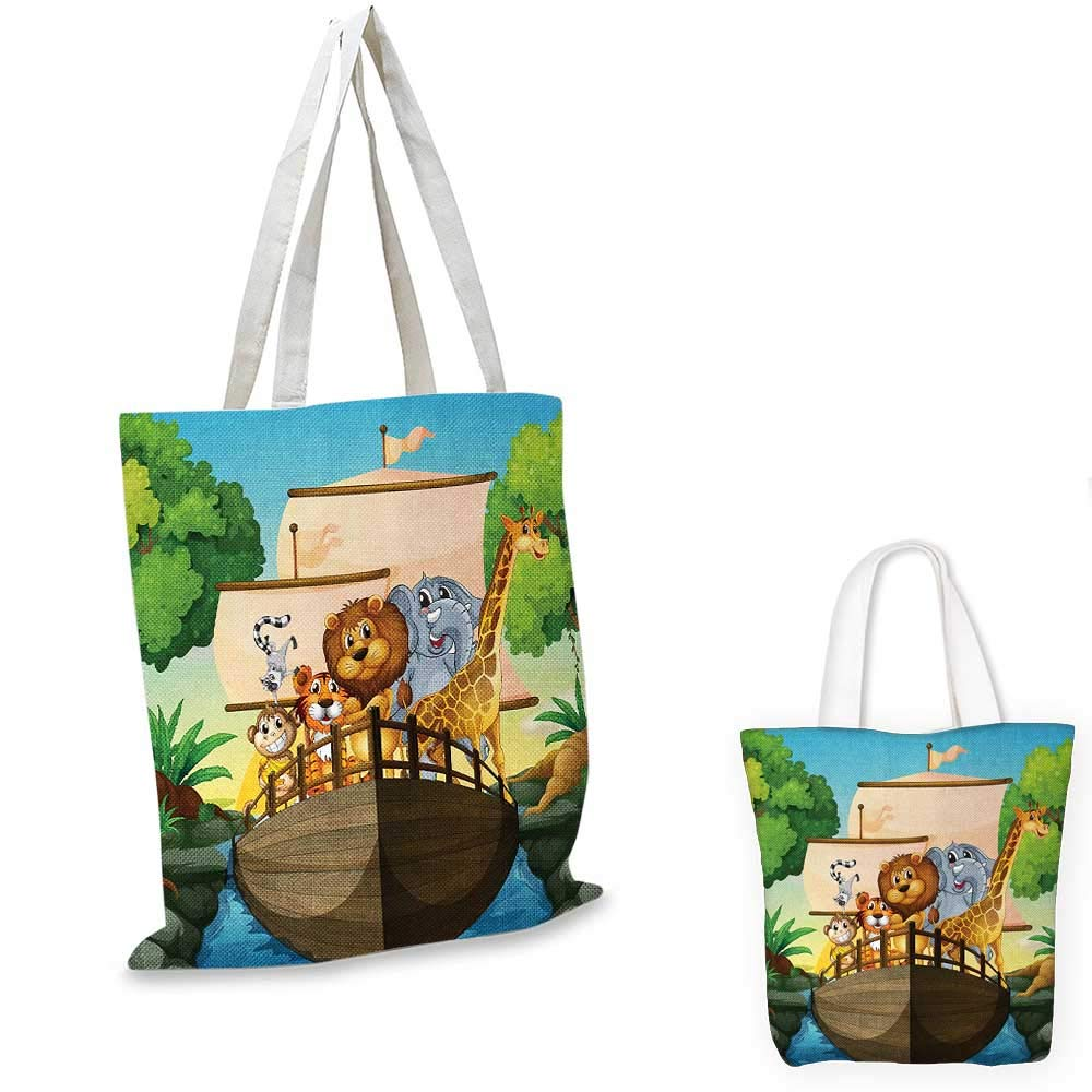 Zoo canvas messenger bag Various Different Animals on Floating Boat Forest River Trip Journey Nature Outdoors canvas beach bag Multicolor 12x15-10