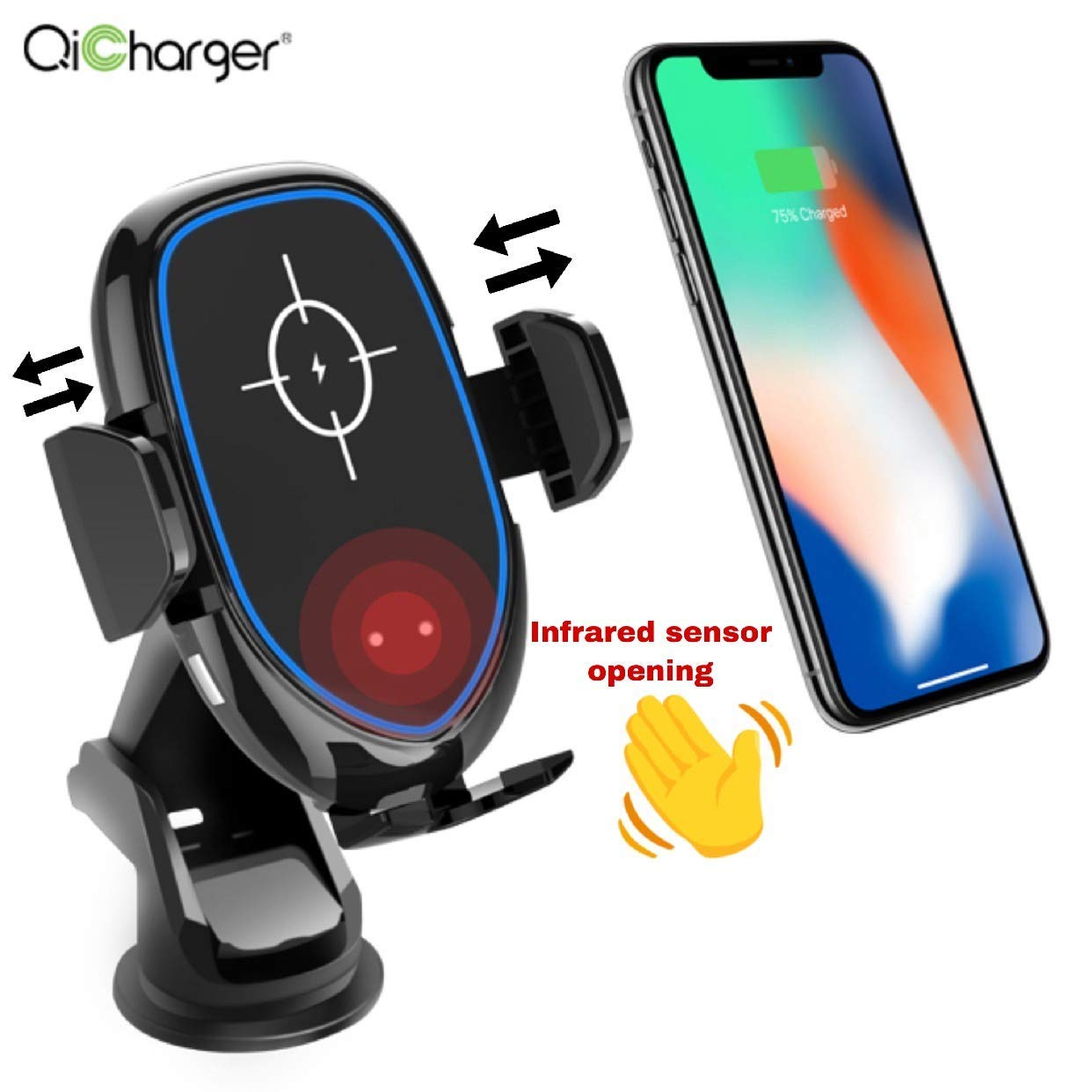 Infrared Sensor Automatic Clamping 360 Rotate Magnetic QI Smart Wireless Fast Phone Car Charger by High quality charger