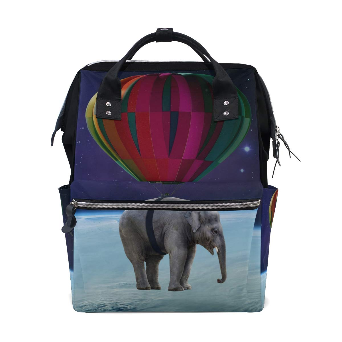 MONTOJ Balloon Elephant in Space Canvas Travel Bag Campus Backpack