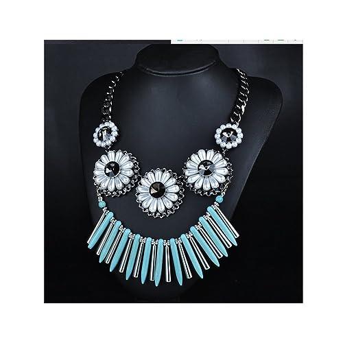 8639081e2556 Moda borla de aleación de collar perlas de bohemia collar color azul   Amazon.es  Joyería