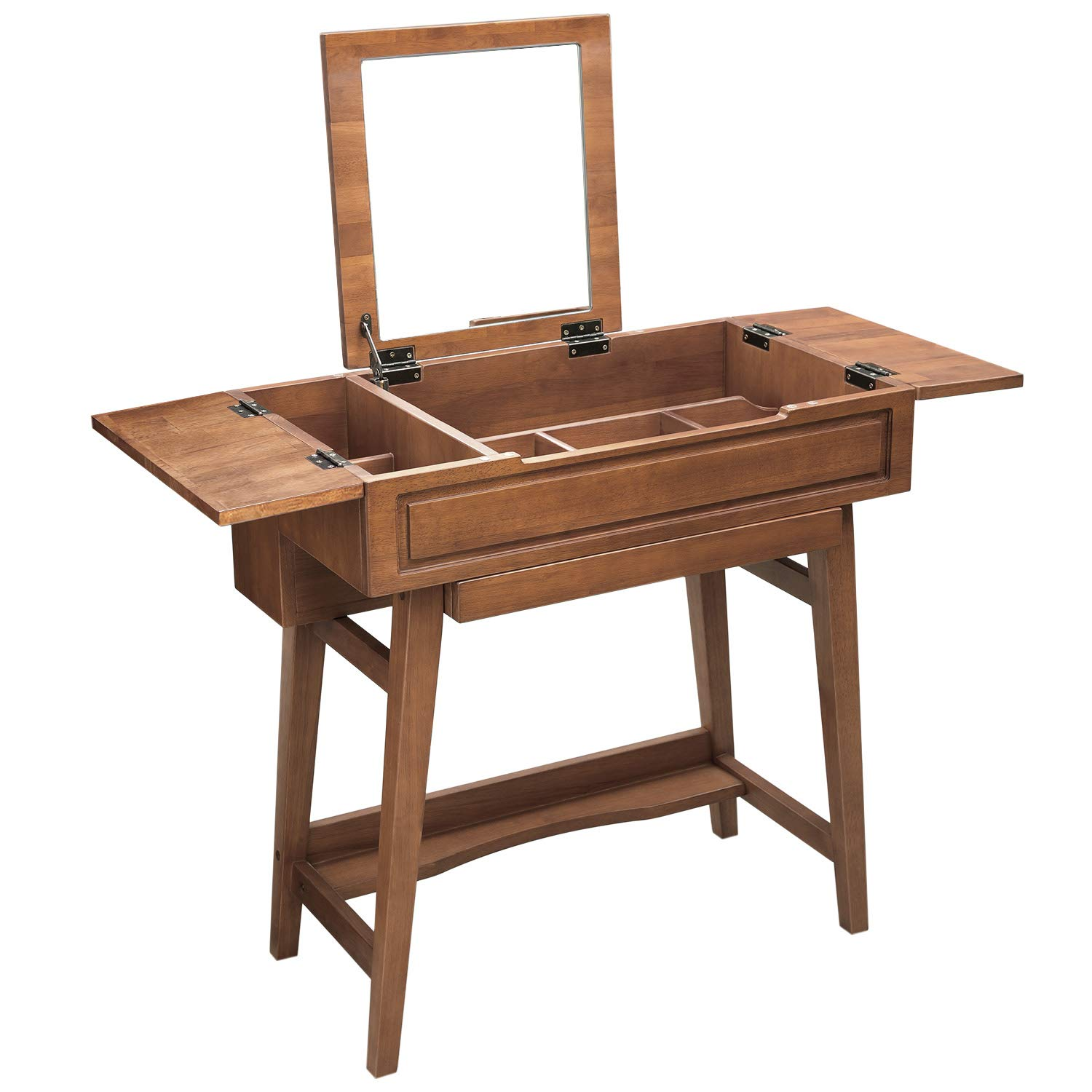VASAGLE Vanity Table with Flip Top Mirror, Solid Wood Makeup Dressing Table Desk, 6 Organizers for Different Sized Makeup Accessories, 1 Small Drawers for Lipsticks, Powders, Saddle Brown URDT26BR