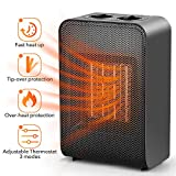 Ceramic Space Heater Office Home - Electric Heaters Portable for Indoor Use Bedroom Under Desk Garage Baby Room, 1500W PTC Portable Small Personal Space Heater with Adjustable Thermostat
