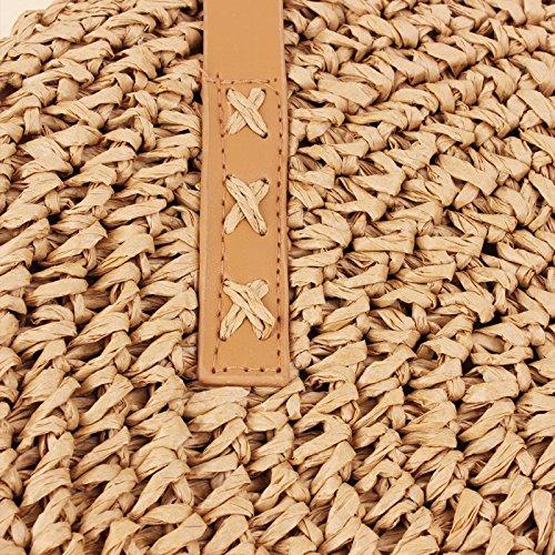 Donna Marrone Signora Borsa intrecciato Tracolla Paglia Spiaggia Estate Tondo Stile Viaggio Borsa Portafoglio Intrecciata Leisial a Mano Boemia di a Tracolla RY5qCO5xw